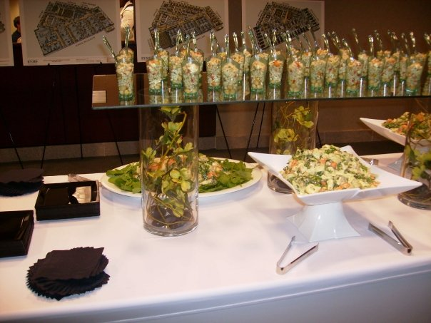 Several trays on a buffet