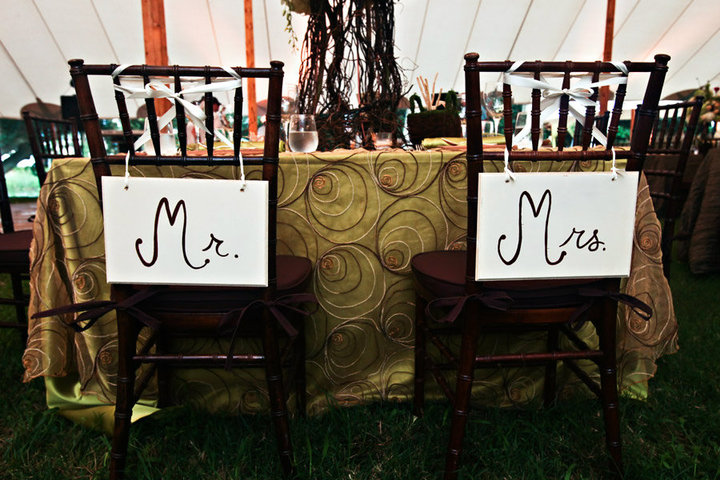 Decoration ideas for the chairs of the just married couple