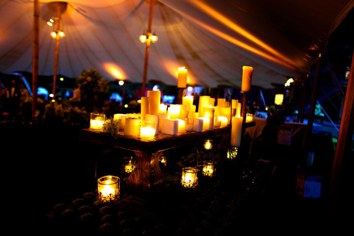 Lighted candles out door decoration for a wedding reception