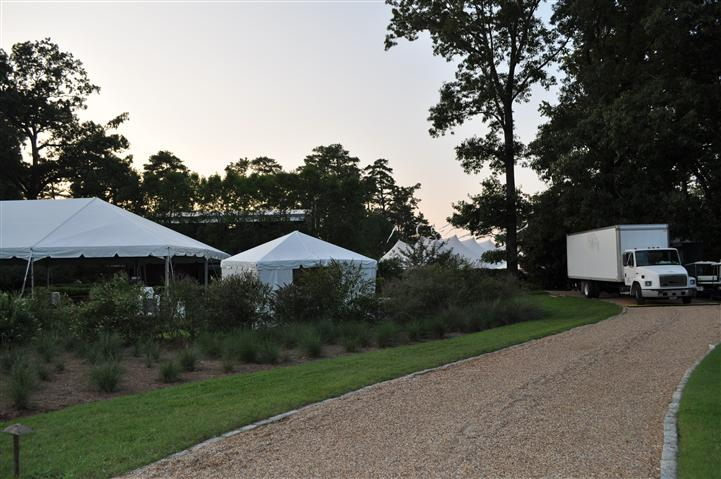 Outdoor Shot of white wedding tents