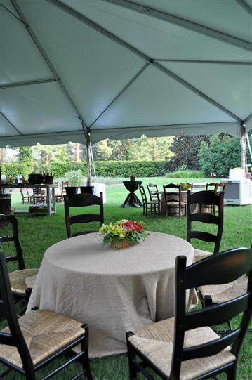 Round tables under a tent