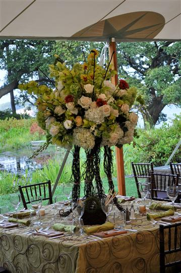 A bouquet decoration on a table for a wedding reception