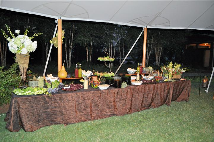 An outdor buffet with everal trays