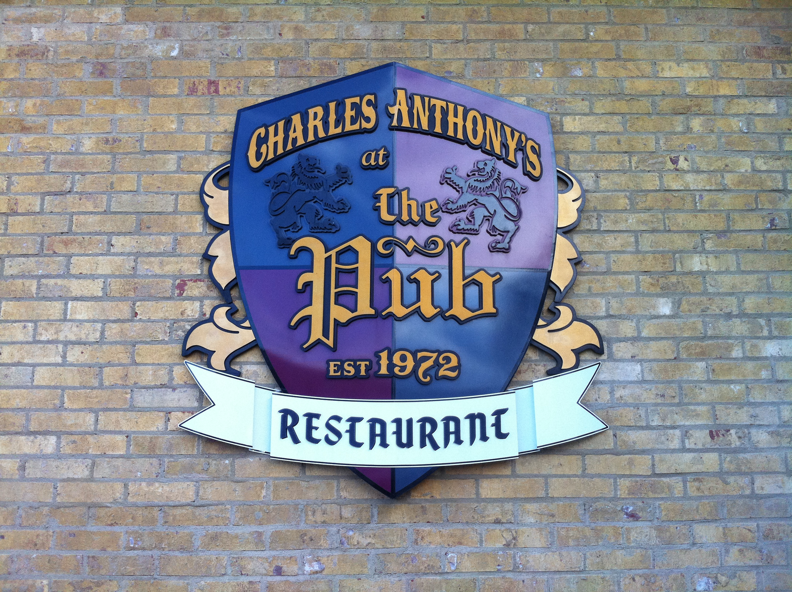 "sign out front Charles Anthony's Restaurant ""The Pub"""