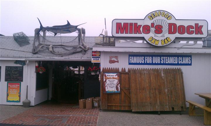 view of the swordfish statue outside of mike's seafood
