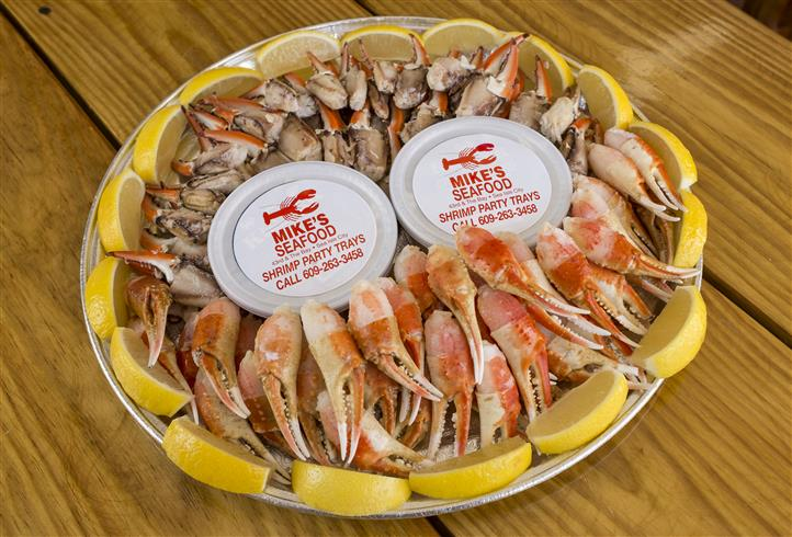 crab claws in a party tray