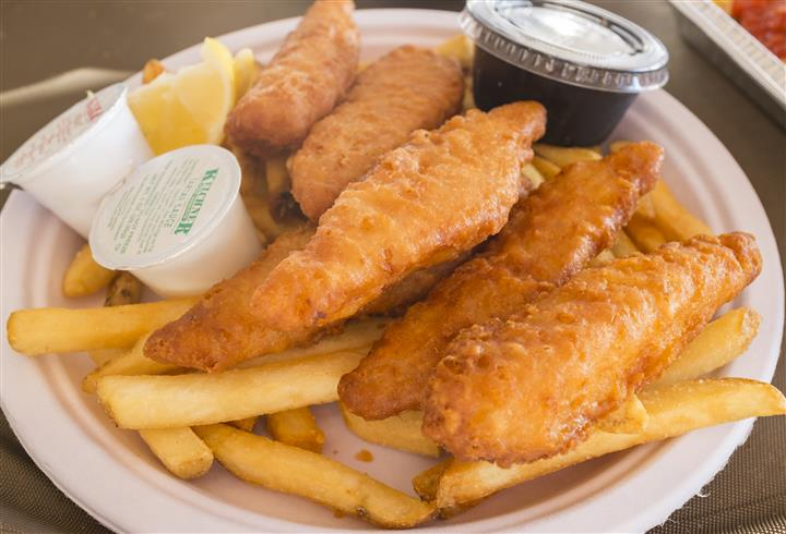 fried fish with a side of french fries and tartar sauce