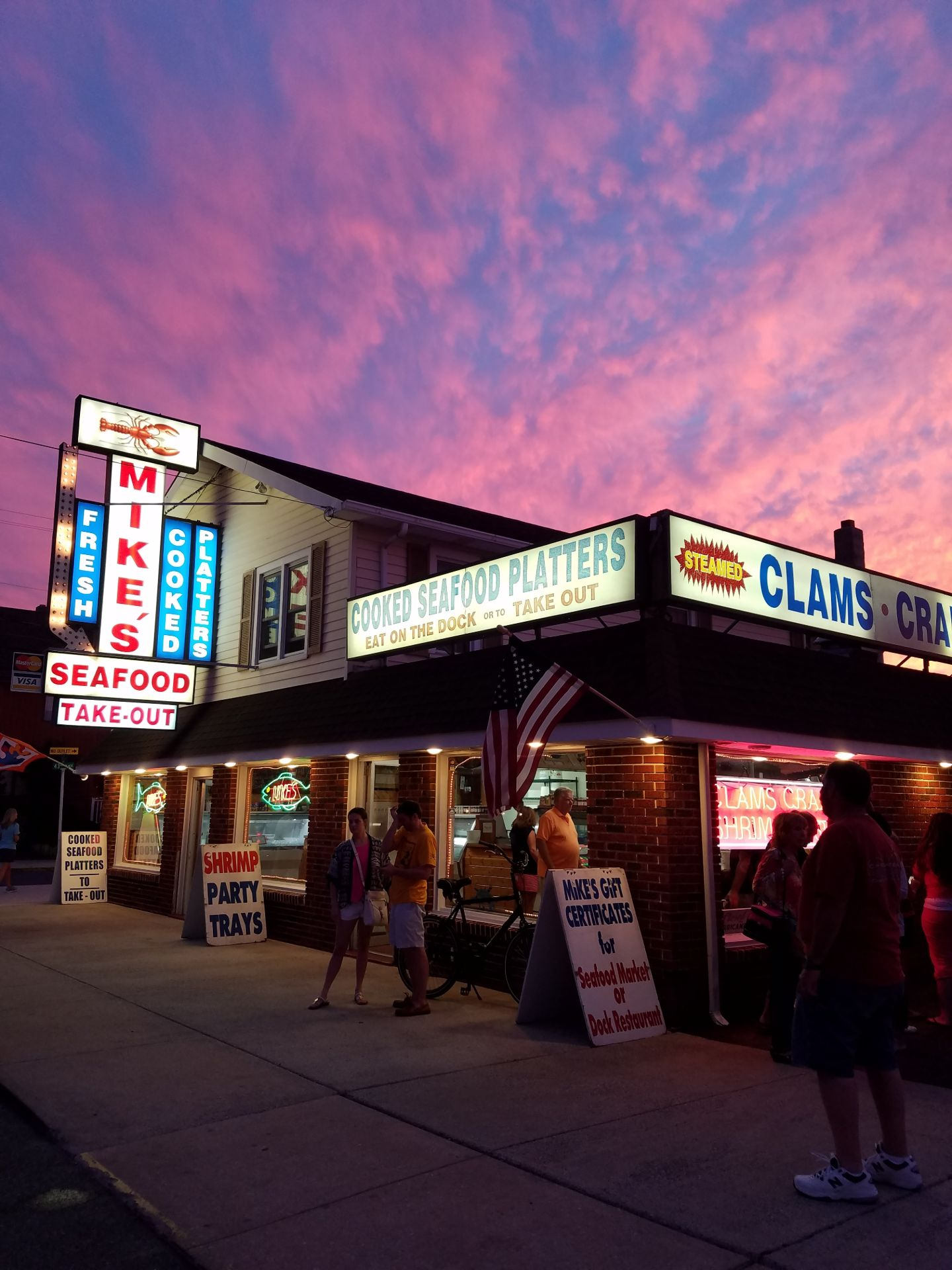 Exterior of Mike's Seafood at sunset