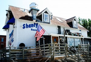 exterior deck of the shanty on the shore that leads to the bay
