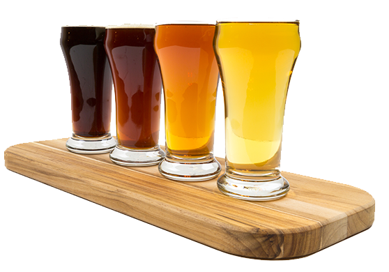four different colored beers