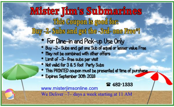 mister jim 39 s submarines coupons. Black Bedroom Furniture Sets. Home Design Ideas