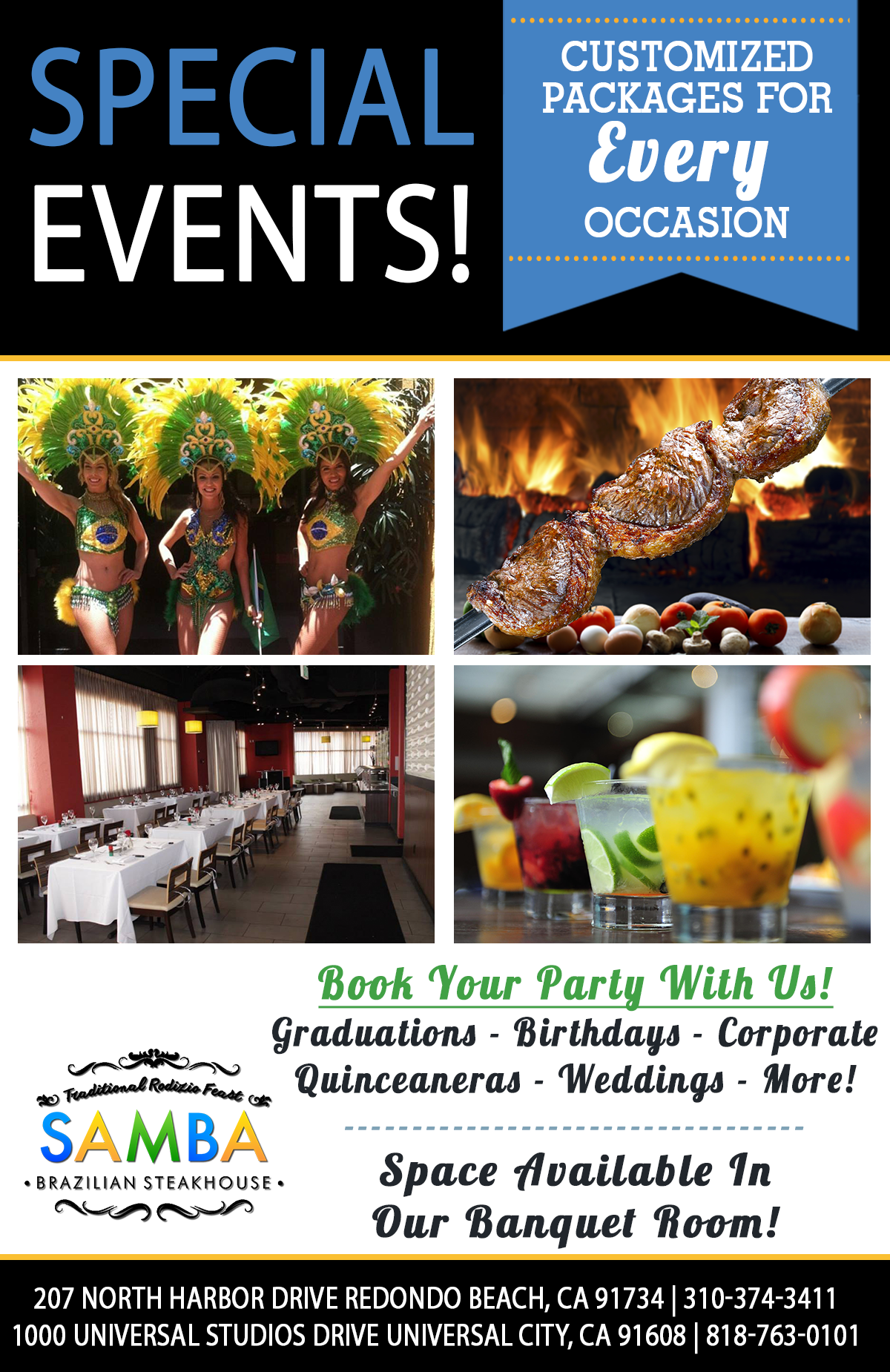 Flyer for special events: Customized packages for every occasion. Book your party with us! Graduations, birthdays, corporate, quinceaneras, weddings, more!