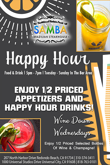 Flyer for Happy Hour: food & drink 5pm - 7pm | Tuesday - Sunday In the Bar Area. Enjoy 1/2 priced apps and happy hour drinks. Wine Down Wednesdays, Enjoy 1/2 priced selected bottles of wine or champagne.