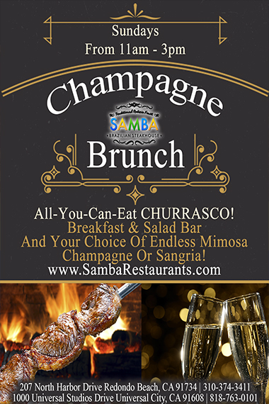 Flyer for Champagne Brunch: Champagne Brunch Sundays from 11am - 3pm. All you can eat churrasco. Breakfast and Salad Bar and your choice of endless mimosa champagne or sangria.