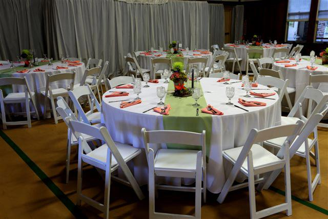round tables decorated for catering event