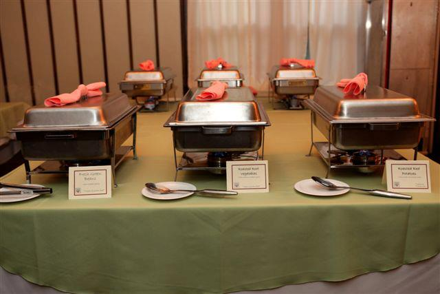 display of six catering serving stations