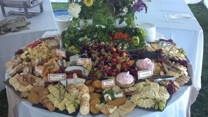 display of cheese and crackers