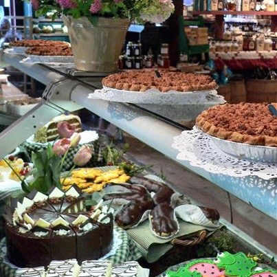display of cakes and pies