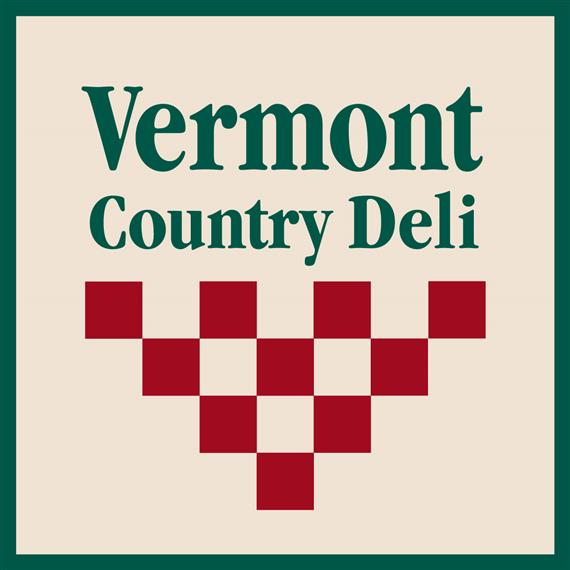 Vermont County Deli Logo, Green lettering with red accents on a cream background.