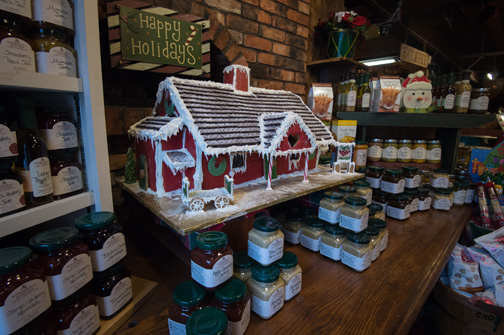 gingerbread house display with sauces in front