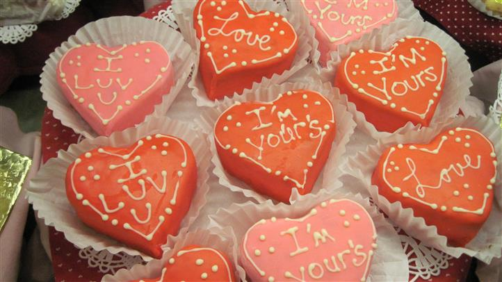 closeup of heart shaped cakes