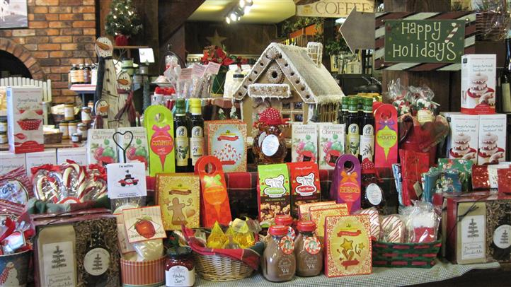 display of holiday themed goods