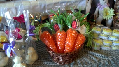 basket with candy filled carrots