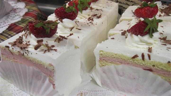 slices of strawberry shortcake