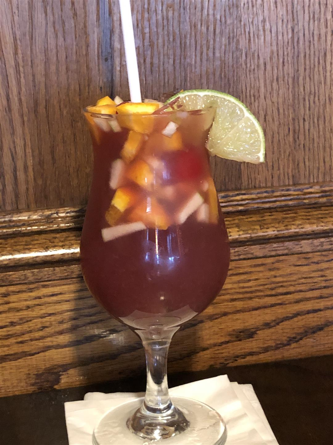sangria with a lime garnish