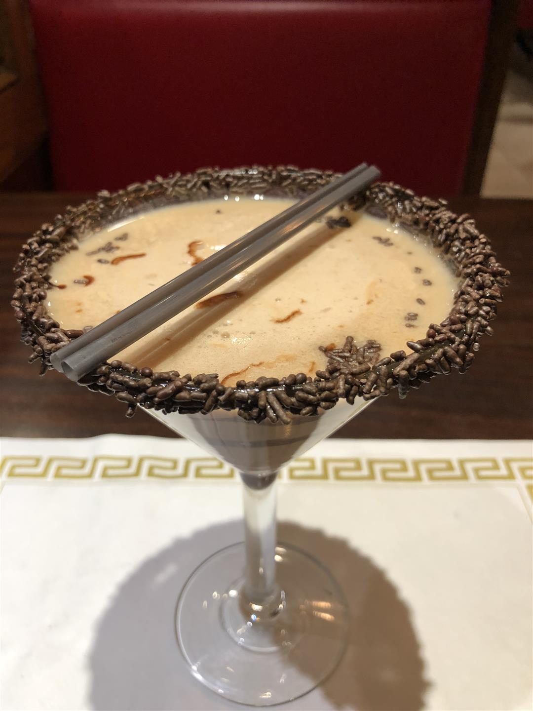 Chocolate Martini with chocolate sprinkle rim