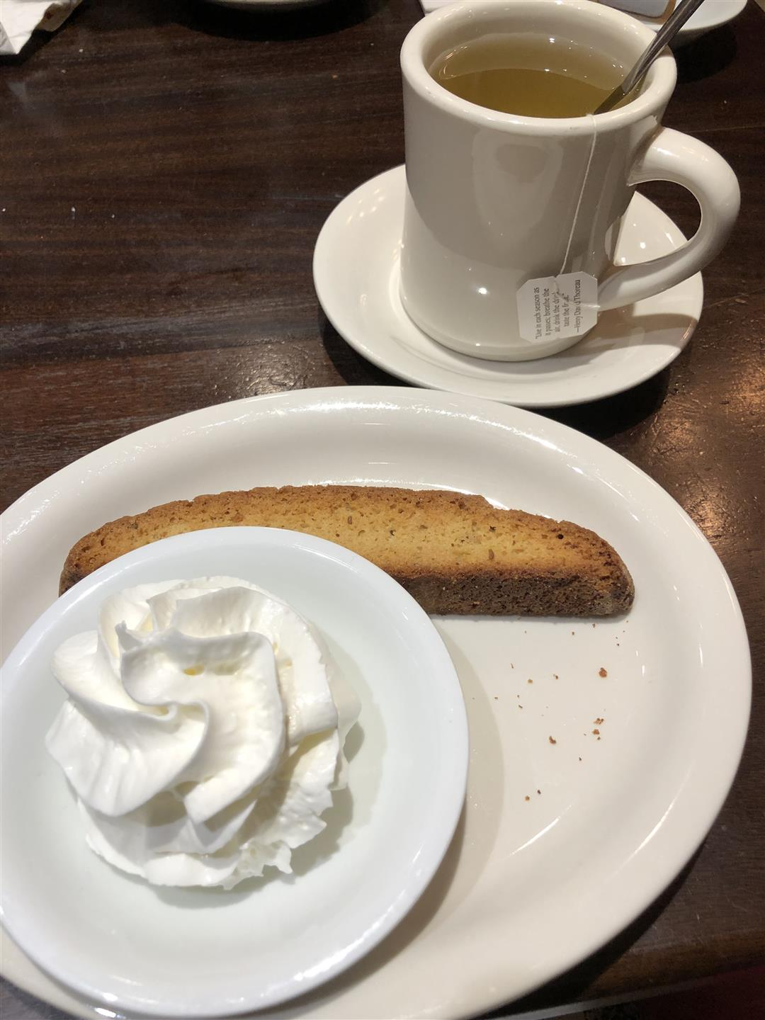 Biscotti with whipped cream and honey