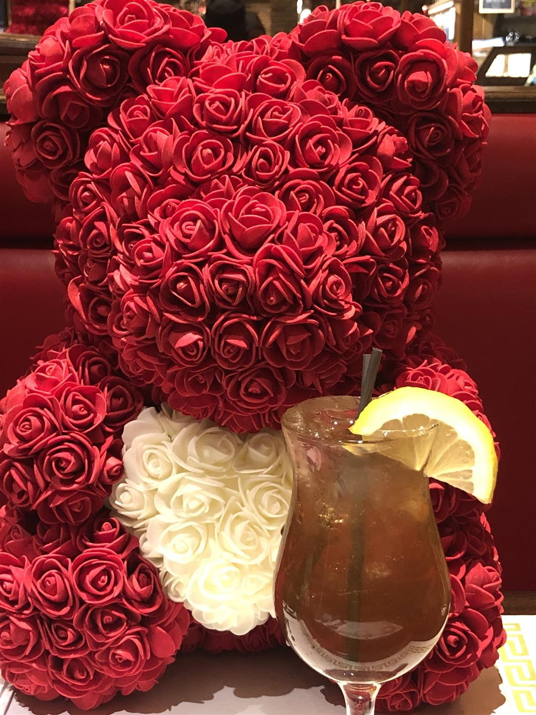 Valentines Day Rose Bear with Long Island Iced Tea