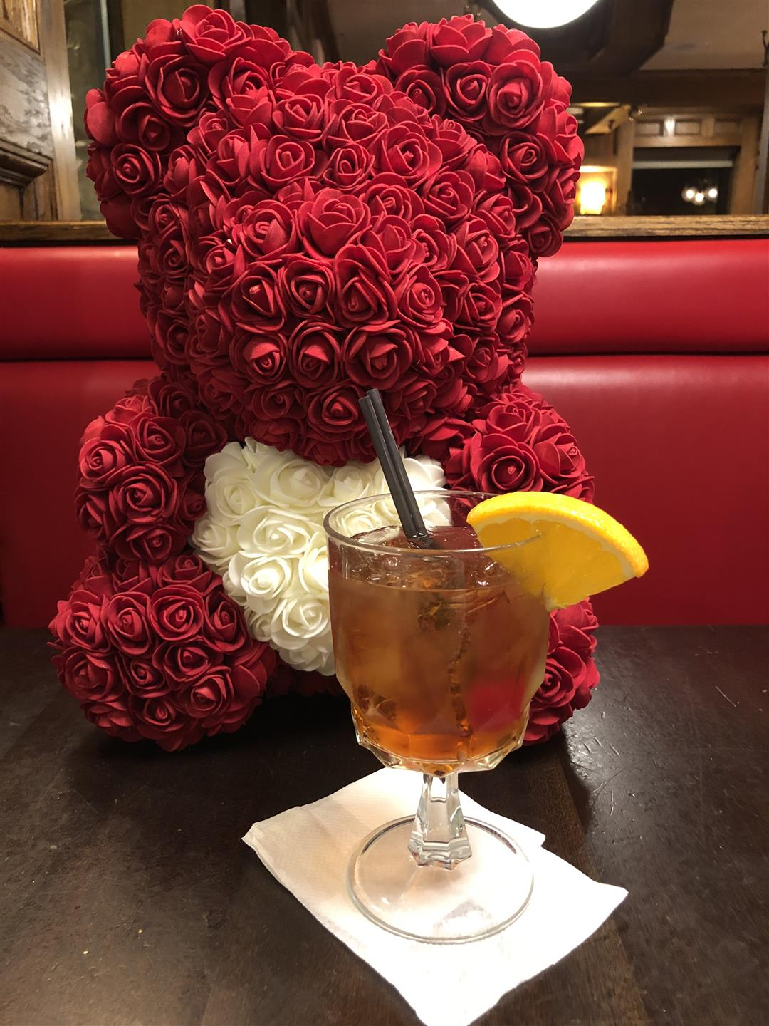 valentine's Day bear with Old Fashioned drink
