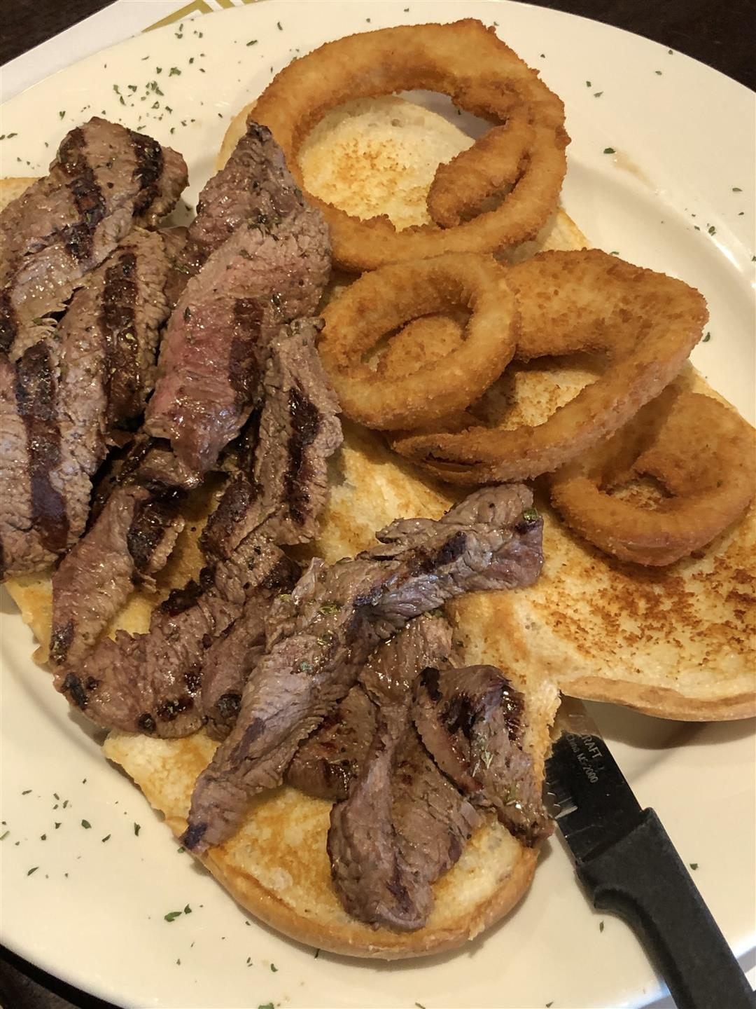 Open Sliced Steak Sandwich
