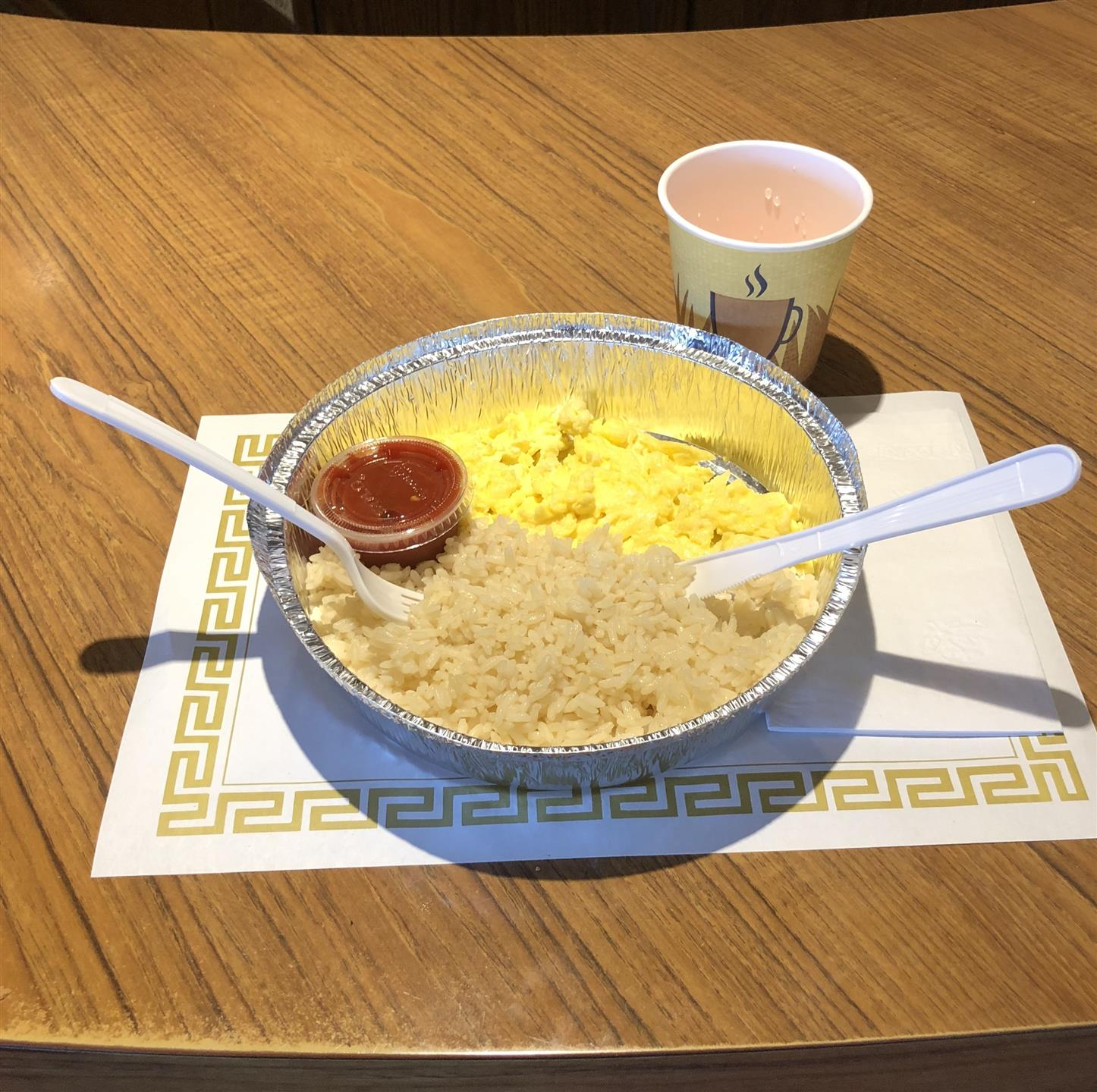 Scrambled Eggs, Rice and Salsa Sauce