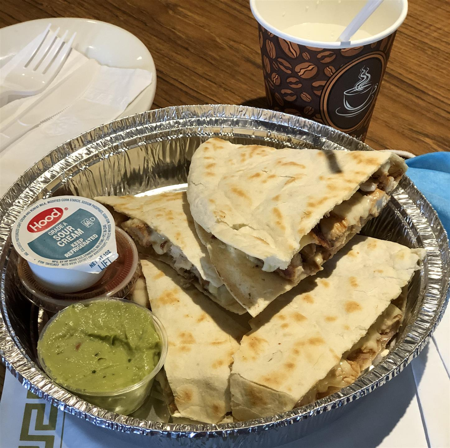 Quesadilla with guacamole In To Go container