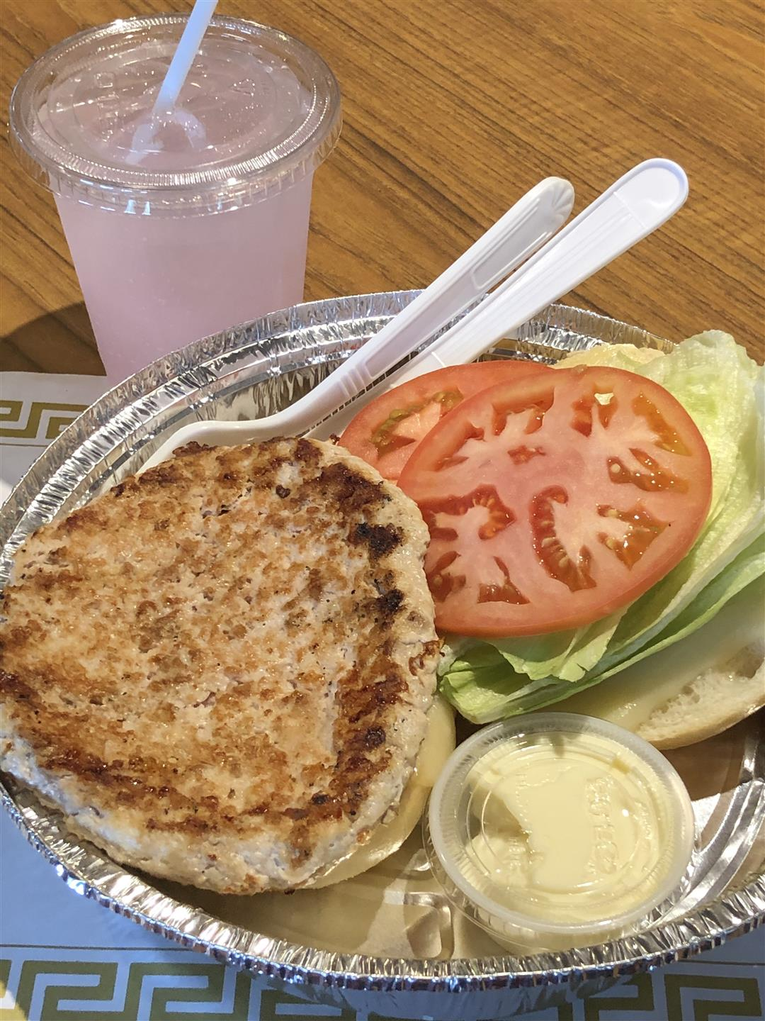 Turkey Burger and Lemonade