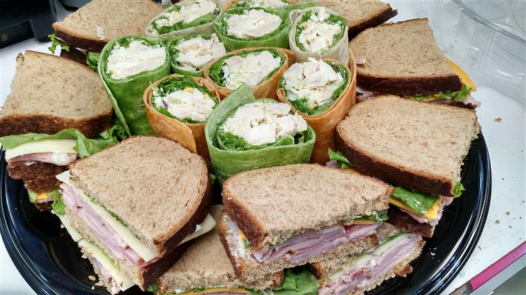 Sandwich and wrap platter for a catering occasion