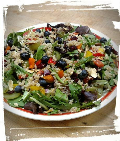 Salad with Quinoa, Olives, Lettuce, Carrots,