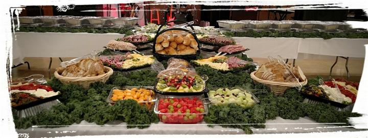 Assortment of Fruits, Vegetables, Meats, Cheeses, and bread