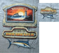 Welcome to Ocracoke Island, NC - Home of Howard's Pub lighthouse and marlin t-shirt.