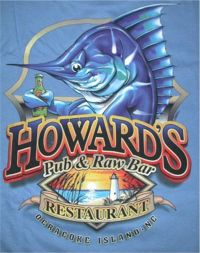 Howard's PUb & Raw Bar Restaurant, Ocracoke Island, NC marling drinking beer bottle t-shirt