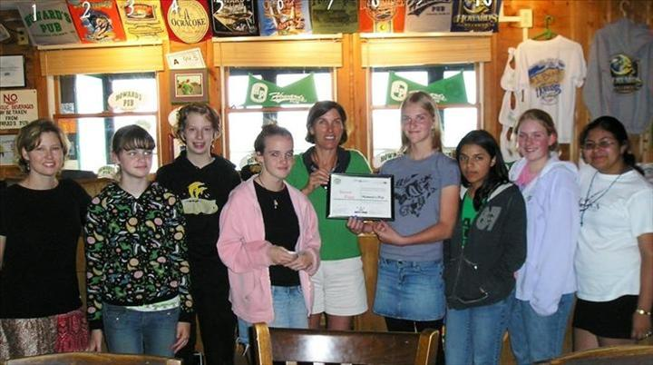 Ocracoke Students Against Tobacco Present Certificate for The Pub Being Smoke Free