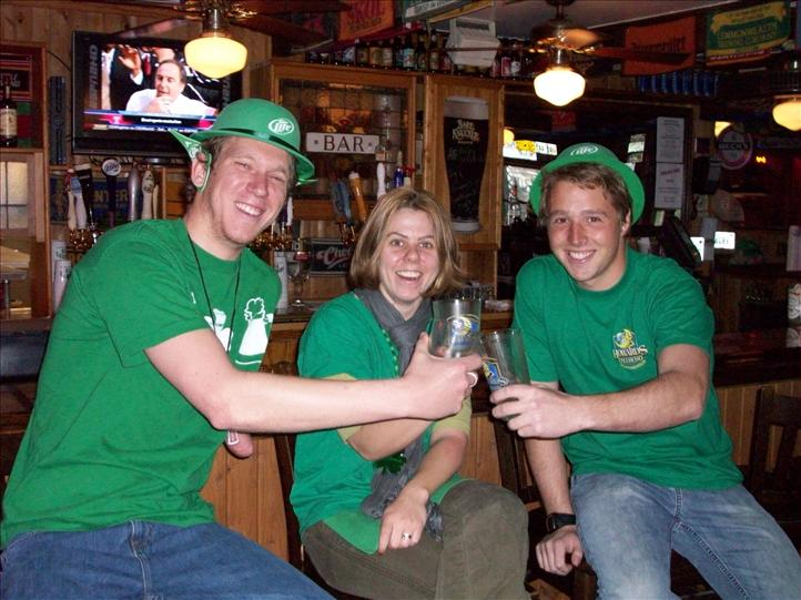 St Patrick's Day 2009 - patrons enjoying drinks at bar.
