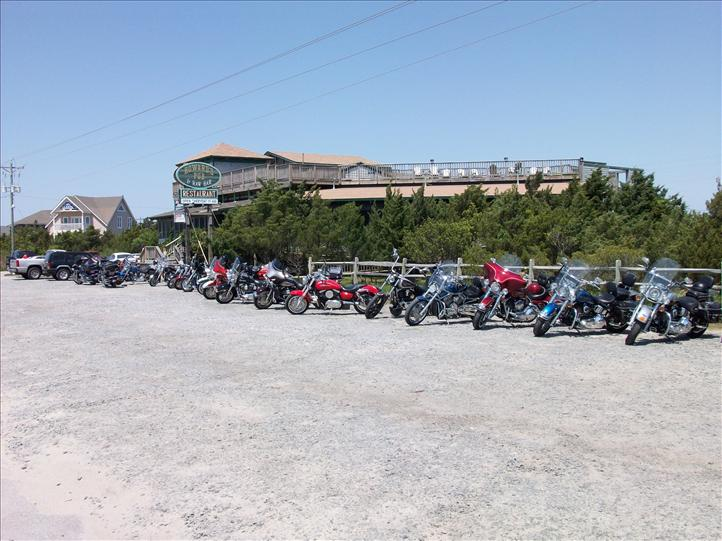 Outer Banks Bike Week at The Pub 2009 - motorcycles in parking lot