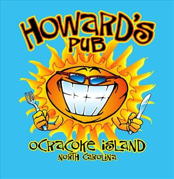 Howard's Pub ocracoke island, north carolina - sun holding knife and fork t-shirt.