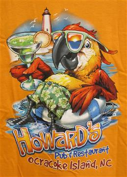 Howard's Pub & Restaurant Ocracoke Island, NC t-shirt with tucan holding margarita, sitting in inner tube cartoon.