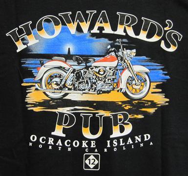 Howard's Pub, Ocracoke Island, North Carolina motorcycle drawing t-shirt