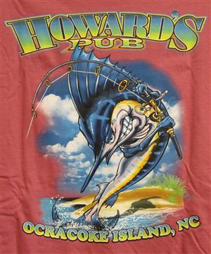 Howard's Pub - ocracoke island, NC marlin holding fishing rod cartoon drawing t shirt