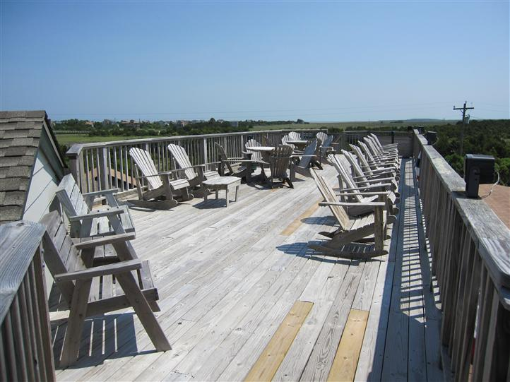 Outdoor deck seating at Howard's